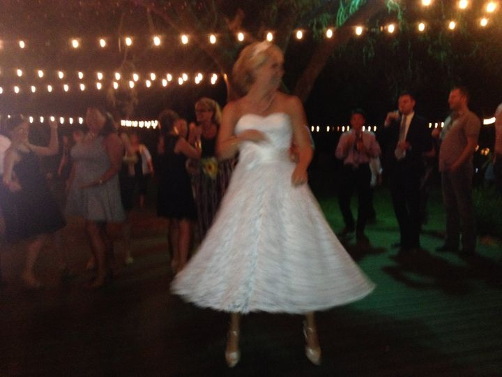The bride having fun dancing to Exit 505!