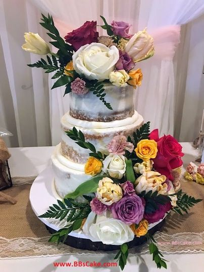 83aa845914d9d8fb Naked wedding cake with flowers