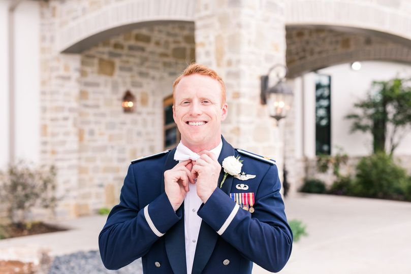 Military, groom, boutonniere