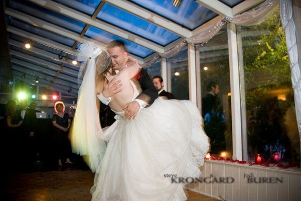 Bride being dipped