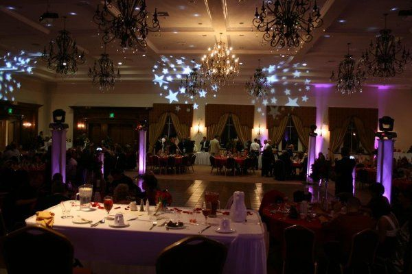 "Our elegant ""Platinum"" package includes four vertical towers with moving lights perched on top.  We..."