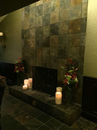 Soc Room Fireplace (flowers provided by clients, candles by Willow)