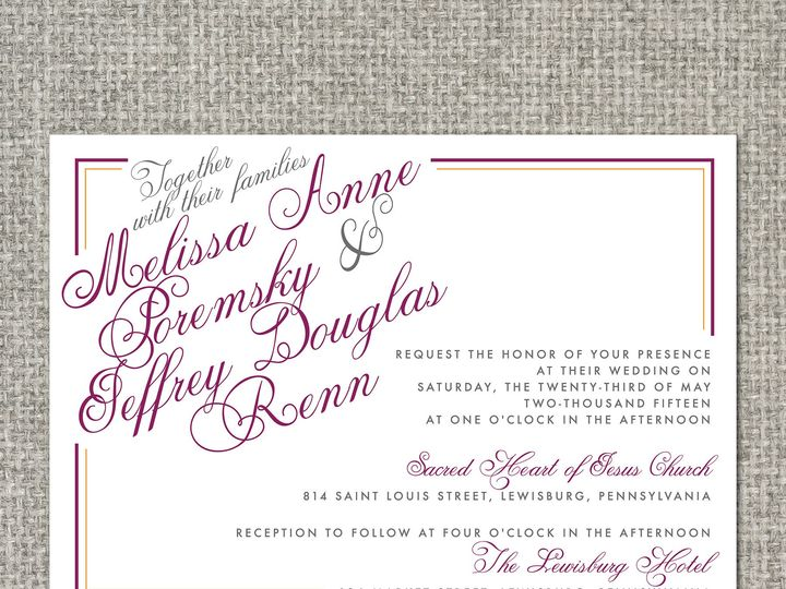 Tmx 1460156609015 Melissainvitation Middleburg, PA wedding invitation