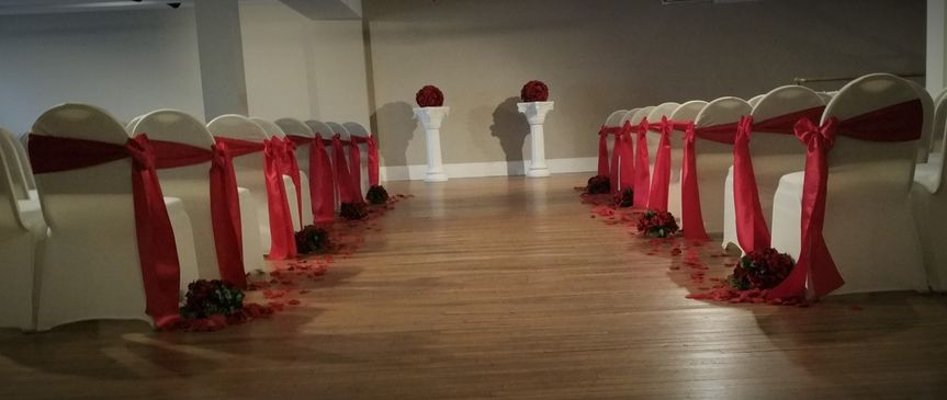 Red and White Aisle Decor