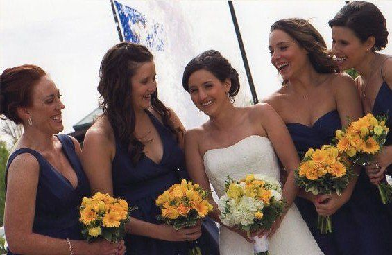 Bridesmaids' matching bouquets