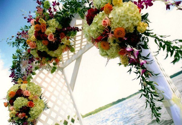 Wedding arch flower arrangement