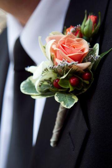 Peach rose corsage
