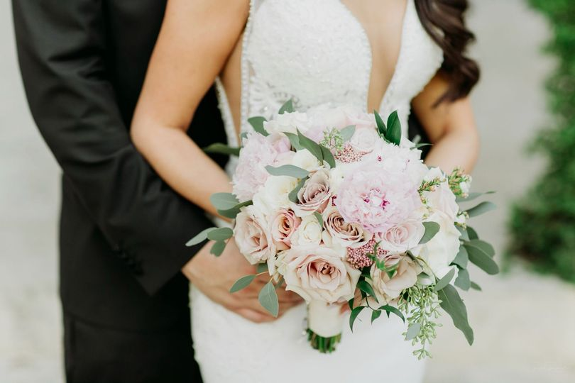 Rustic peony bridal bouquet