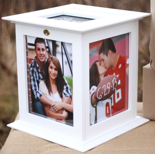 White Wedding Card Box that locks and rotates on a base!