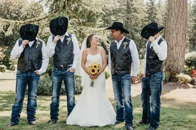 Bride with the cowboys