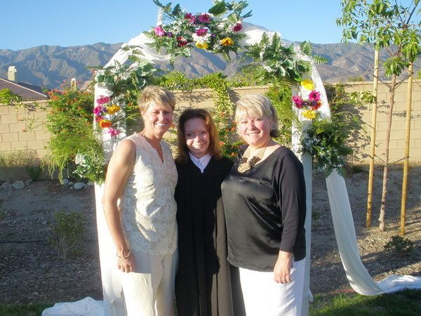 Brides and the officiant