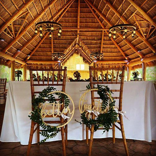Tiki hut set up