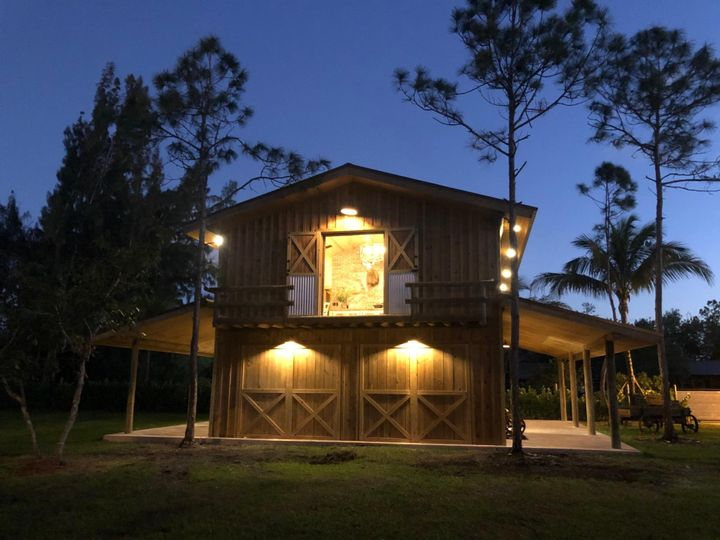 Barn with lights