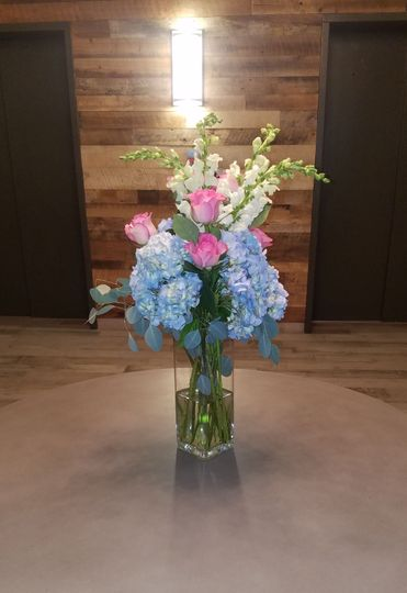 Blue and pink flowers