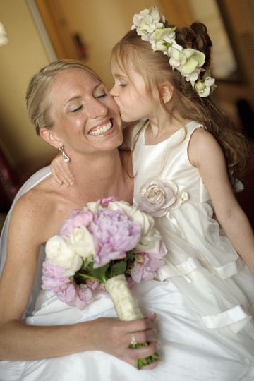 Flower girl kissing the bride