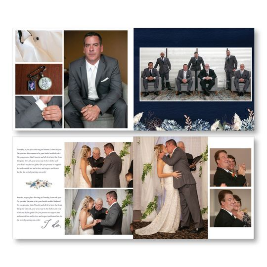 Wedding album page featuring couple