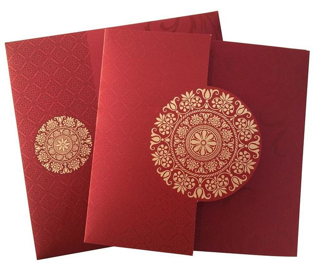 Made from Red maroon color shimmery finished card stock. This attractive invitation card comes with...