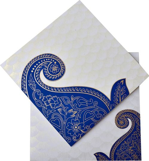 Blue Motif design on off white textured sheet available with pearl base printed all over and...