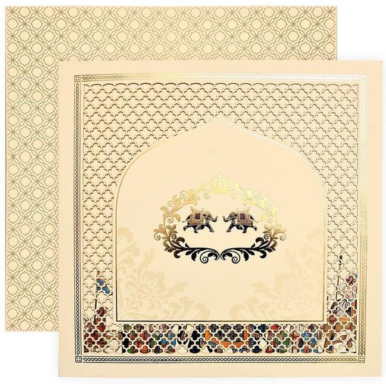 This fabulous beige color invitation design comes with a matching envelope and two inserts. Front...