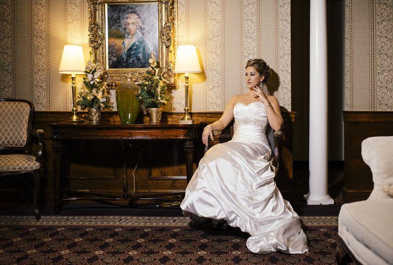 Seated wedding portrait
