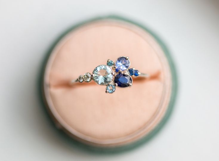 2017clear water ring boxwgbluesapphire aquamarine