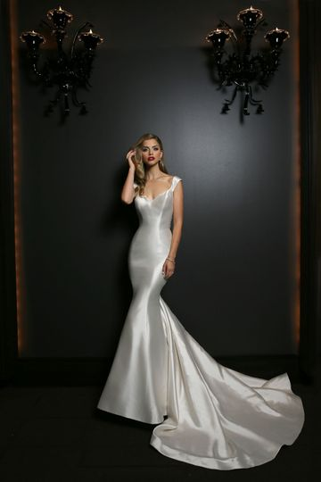 Simone Carvalli  - Style 90325 Plunging v neckline with cap sleeves and dramatic beading illusion...