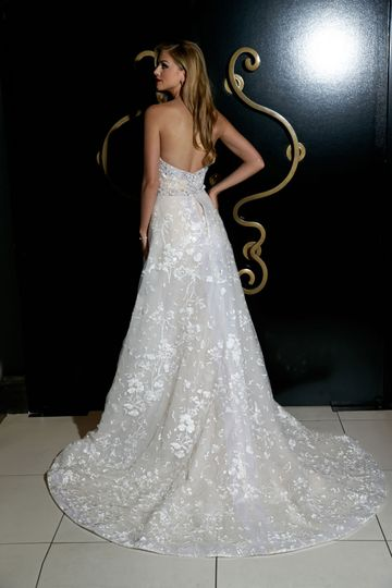 Back details of lace wedding gown