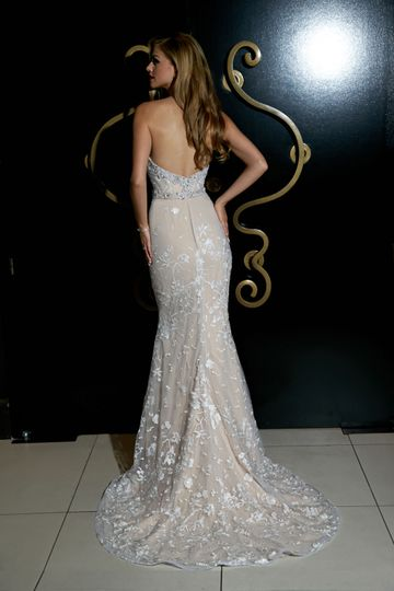 Low back line lace wedding gown