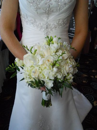This was one of the fashion show models holding one of the bouquets we designed for a bridal show in...