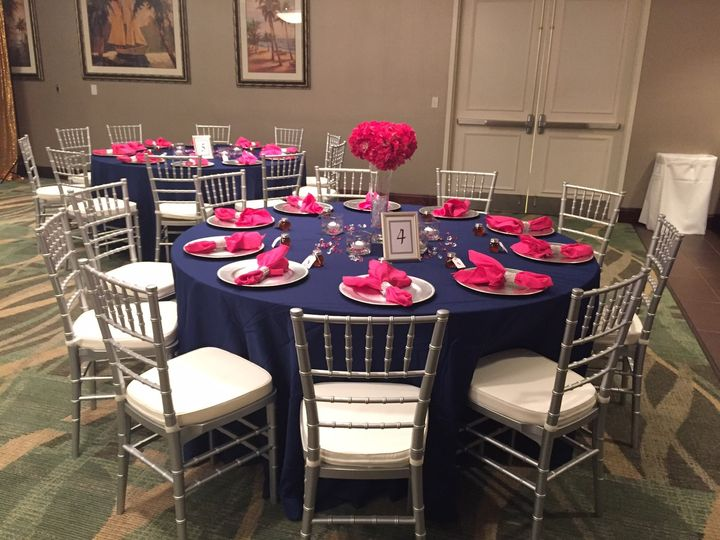 blue and pink reception