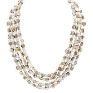 """Valerie Necklace Item #: 10224 GENUINE MOTHER OF PEARL. 18-20.5"""" NECKLACE WITH 1.5"""" DROP."""