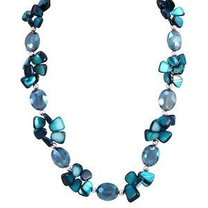 """Abbee Necklace Item #: 10232 Genuine Mother Of Pearls and London Blue Topaz. 20-22.5"""" Necklace."""