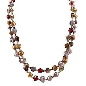 """Alanis Necklace Item #: 10237 Genuine Light Olivine, Light Topaz, and Garnet Crystals. 16.6-19.6""""..."""