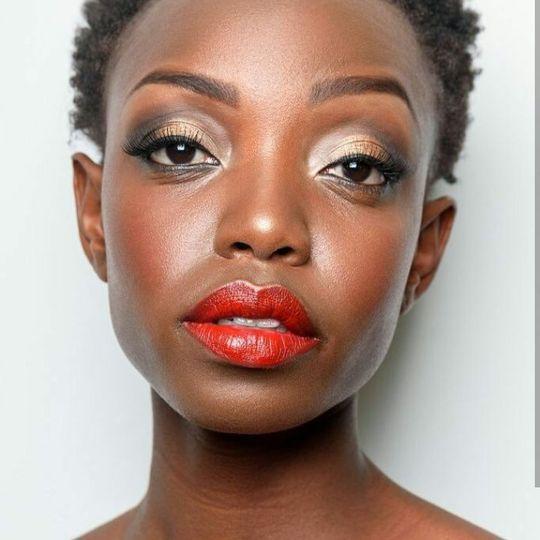 Glam makeup.