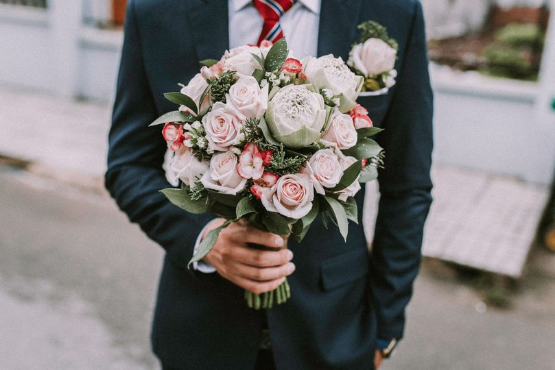 Wedding bouquet in hand