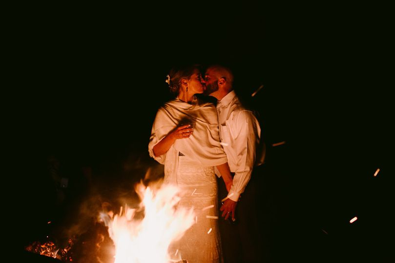 Kiss by the bonfire