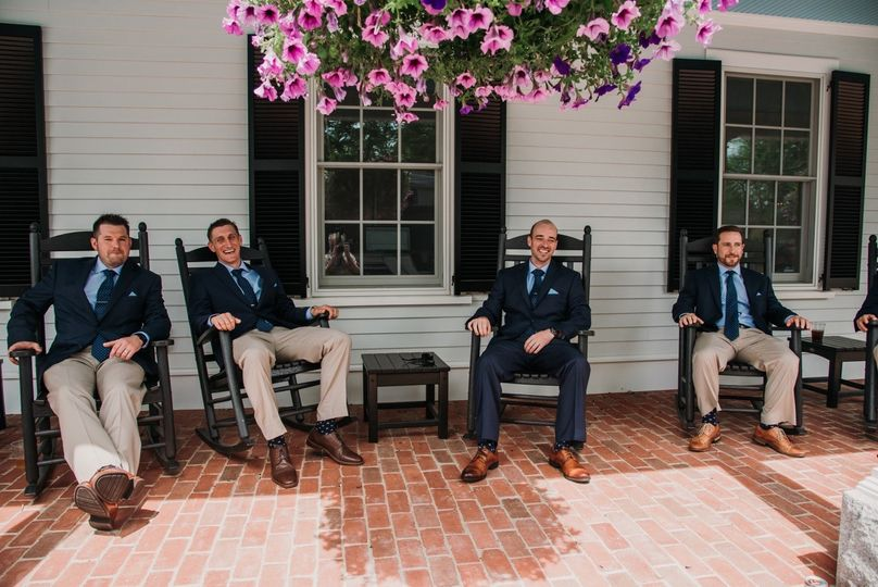Groomsmen on the porch