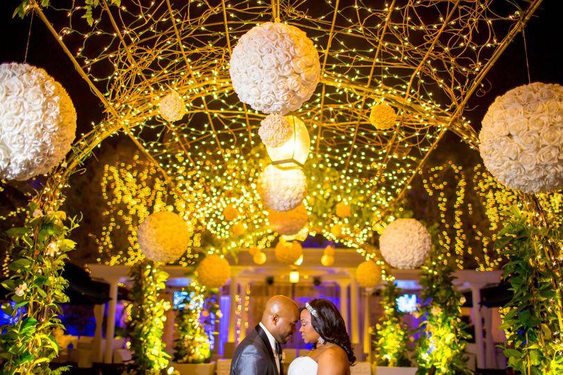 Golden wedding lights