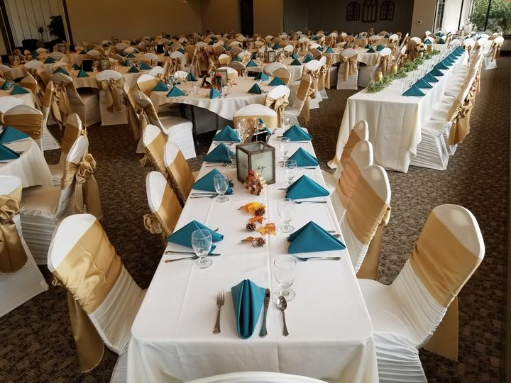 Gold chair bands and blue napkins