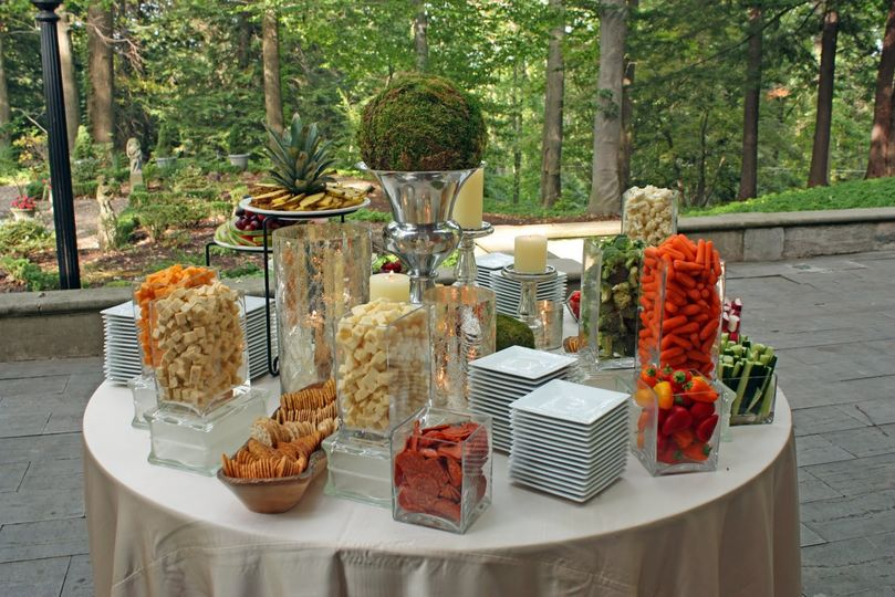 veggie display with champagne bucket
