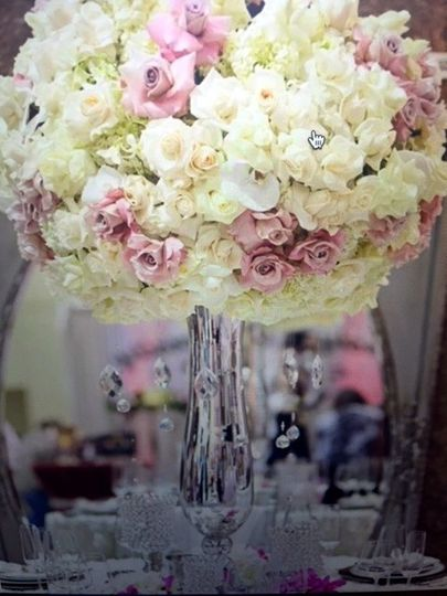Tall white and pink roses