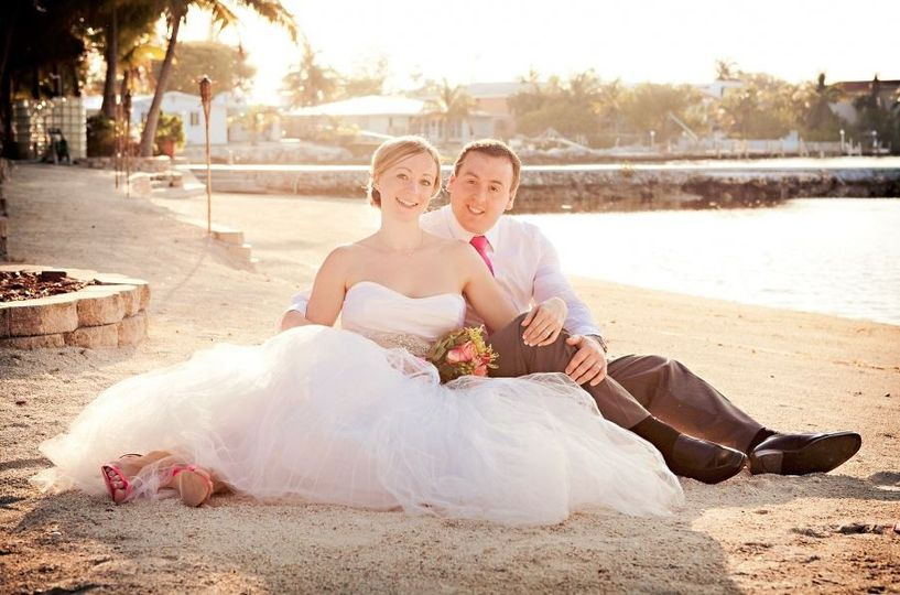 Bride and groom on the sand