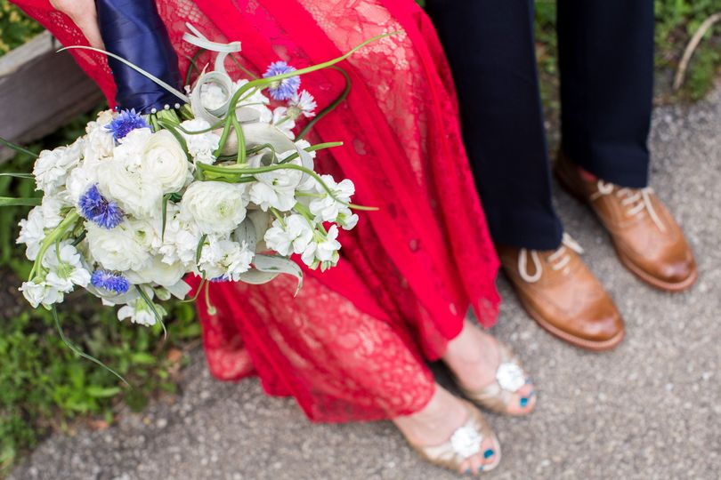 Bouquet and footwear