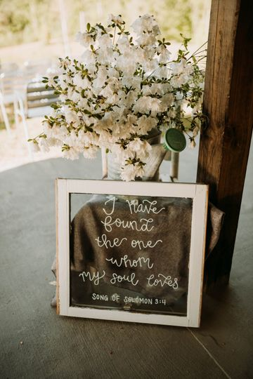 White flowers and beautiful words