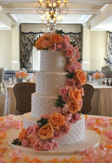 800x800 1376048733847 silverpink wedding cake cascading flowers the cake zone  florida 12