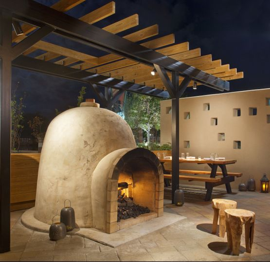 The Kiva fireplace located in the Cowboy Club patio.