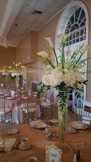 Long flower vase centerpiece