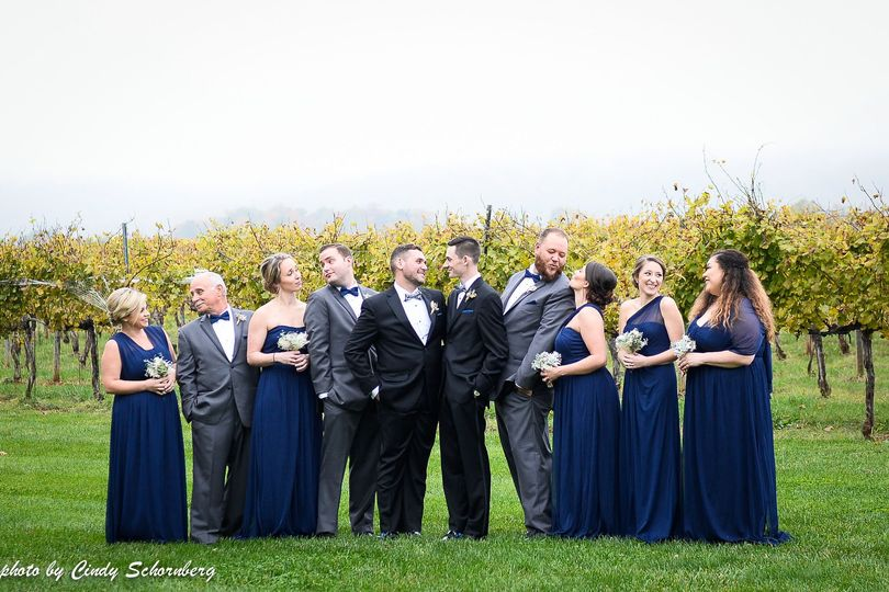 Couple and their bridesmaid and groomsmen