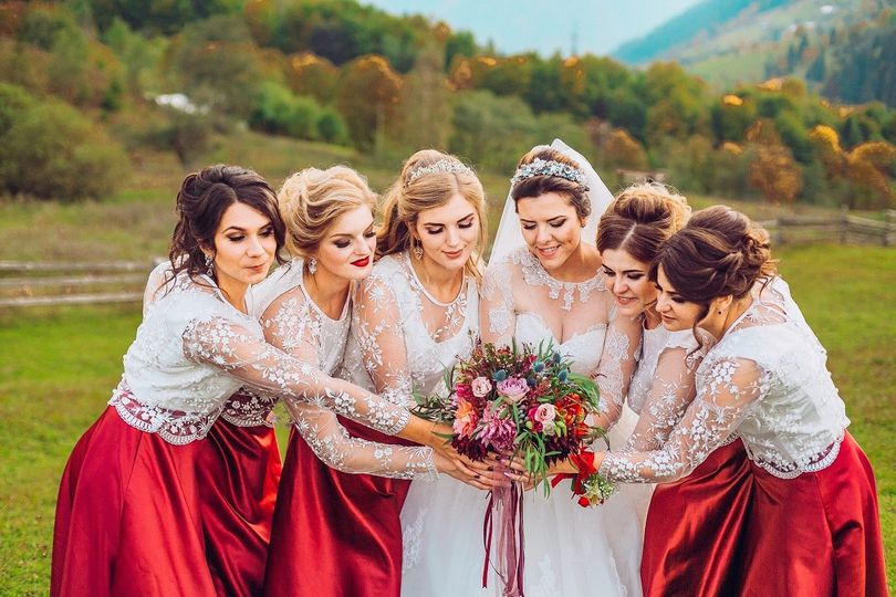 Bride and bridesmaids in lace
