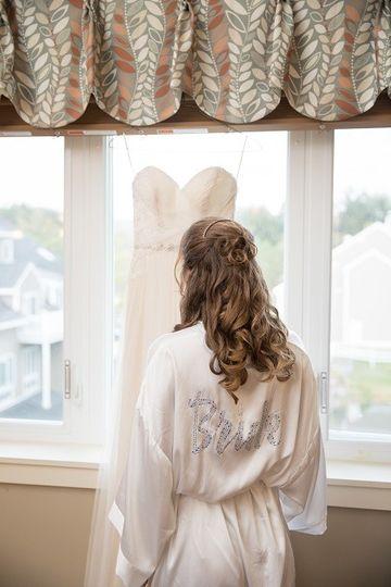 Bride in dressing area